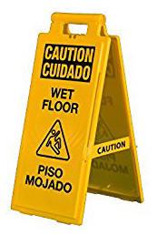 Bilingual Yellow Wet Floor Sign English Spanish 03-600-36